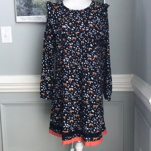 crown& ivy Whimsical Leopard Smock Dress EUC SZ S